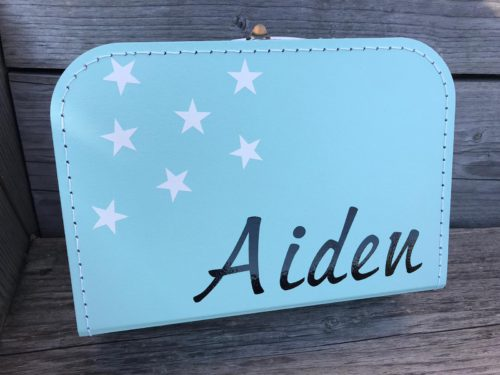 Kinderkoffertje met naam, blauw met sterren, kind, baby, kraamkado, vakantie