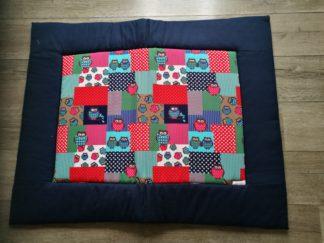 boxkleed uiltje blauw rand handgemaakt katoenen stof speelkleed