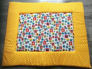 boxkleed-uiltje-geel handgemaakt katoenen stof speelkleed