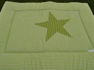 boxkleed-groen-wit-ster handgemaakt katoenen stof