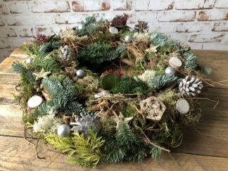 Kerst workshop, Kerststuk zelf maken, DIY, Doe-het-zelf, deur of tafel krans, kerstgroen, kerstpakket
