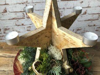 Kerst workshop, Kerststuk zelf maken, DIY, Doe-het-zelf, Houten ster met waxinelichtjes, kerstgroen, kerstpakket