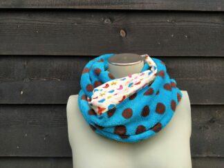 Col sjaal blauw bruine stippen fleece