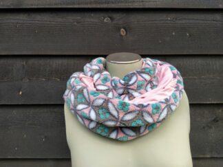Col sjaal roze bloemen fleece