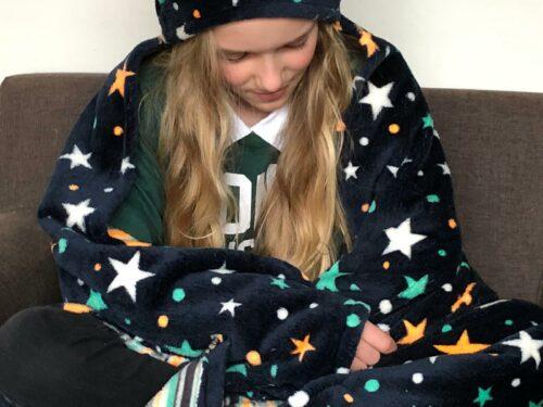Snuggle fleece deken zacht knuffeldeken capuchon