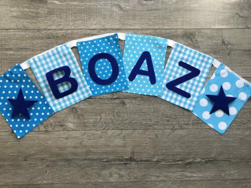 Handgemaakte slingers, vlaggenlijn met naam, unieke naamvlag, naamslinger, katoenen vlaggetjes, stoffen slinger met naam, geboorteslinger, zelf samenstellen, blauw, lichtblauw, ster