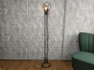 Industriële Industriële vloerlamp Farol Longo, betonstaal, mat zwart, leeslamp, filament, handgemaakt, betonstaal, mat zwart, leeslamp, filament, handgemaakt